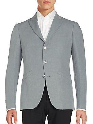 John Varvatos Austin Fit Linen & Silk Sportcoat - Flat Grey - Size