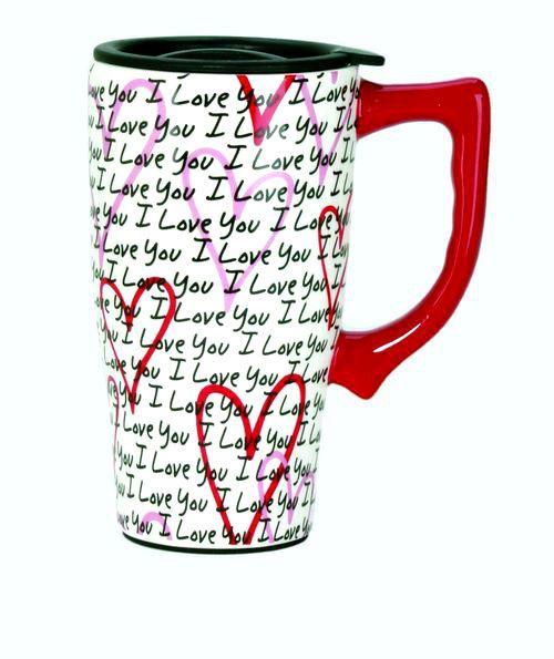 "FULL COLOR  14 oz. CERAMIC TRAVEL MUG -  ""I LOVE YOU"" and HEARTS design"