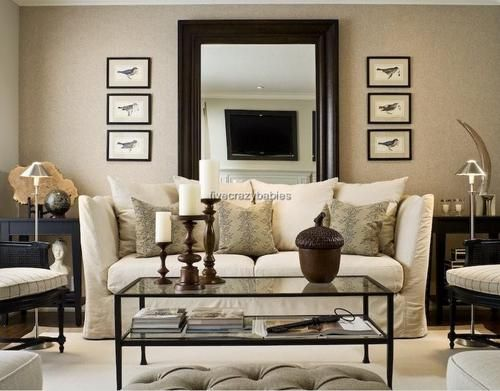Classic living rooms and large mirrors on pinterest for Full length mirror in living room