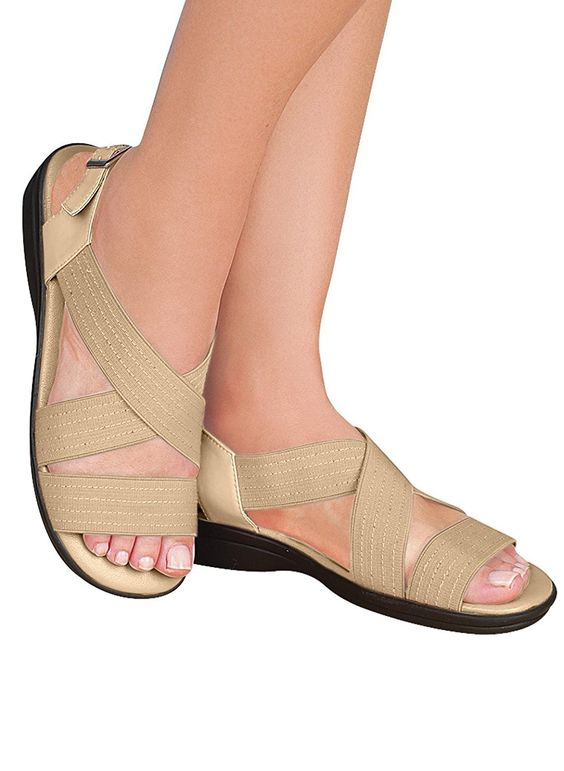 Crisscross Comfort Strap Sandals >>> Read more  at the image link.