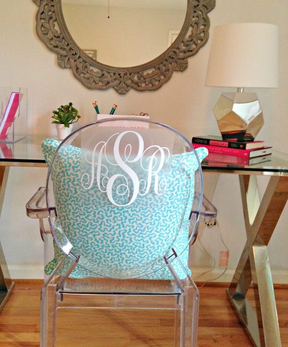 Teen Girl's room ... A Before and After. Ghost chair, monogram. Between a rock and a lamp base. Pottery barn desk.