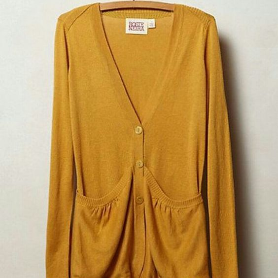 Anthropologie Sweep Front Cardigan GOLD color | Sweater cardigan ...