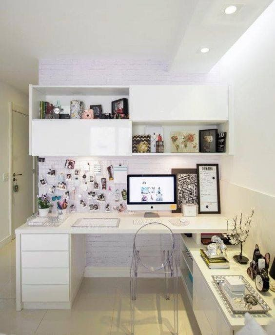 desk bedroom home study office ideas white clear chair | Office ...
