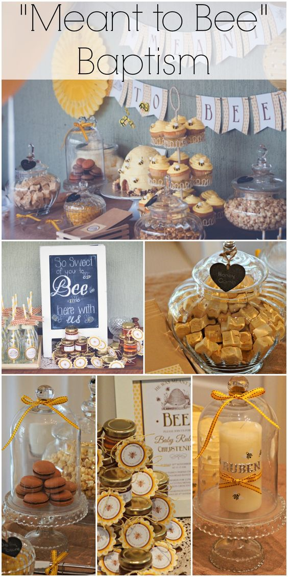 """""""He was meant to bee"""" baptism, filled with great bumblebee party ideas! See more party ideas at CatchMyParty.com."""
