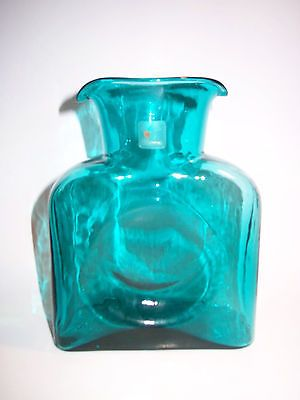 Vtg Blenko Art Glass Turquoise Water Pitcher Carafe Decanter Double Spout