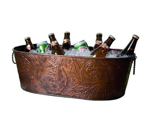 Copper Leaf Pattern Oblong Party Drinking Tub Patio Tailgating Camping Outdoors