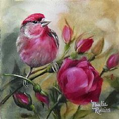 cardenales y flores en oleo - Buscar con Google