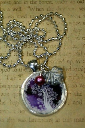 Snowy Purple Tree of Life Inch N Pearl Charm Necklace Layering Altered | shadesongs - Jewelry on ArtFire