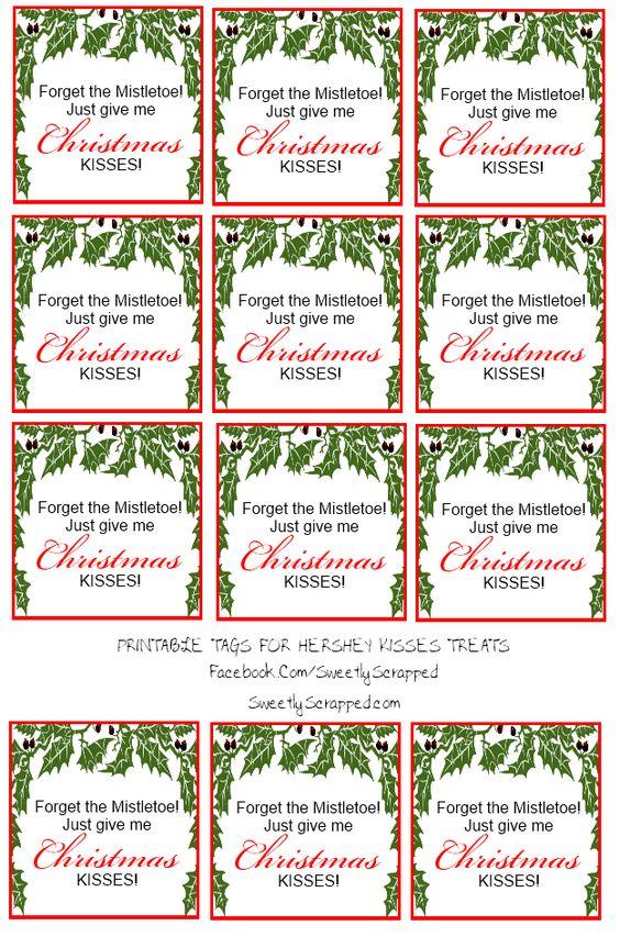 Free printable Christmas Kisses Tags and Bag Toppers | Free Printables ...