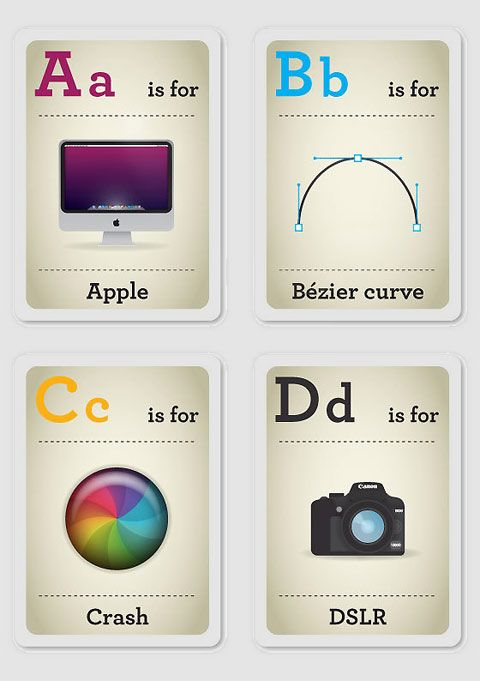 "Hipster design-nerd parents who want to impart their ""obscure"" knowledge to their children now have the perfect teaching device. These ABC flash cards by South African designer Emma Cook are perfect for passing on design knowledge and hipster-tendencies to the next generation."