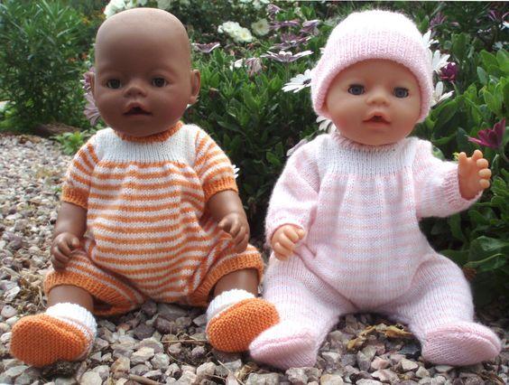 Knitting Pattern For Making Baby Born Doll Clothes Felicity Onesie Knitting Dolls Clothes Baby Knitting Baby Born Clothes