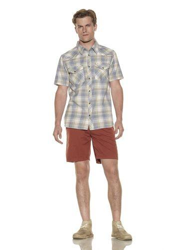 40% OFF nüco Men\'s Short Sleeve Plaid Woven Shirt (Blue Multi)