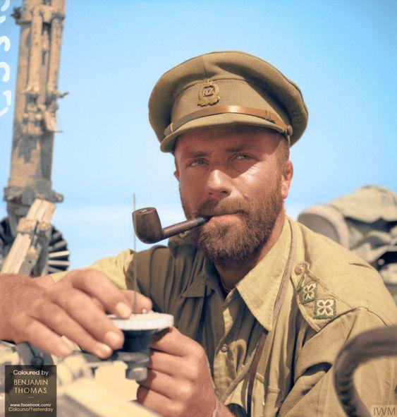 Captain Bruce Ballantyne, Patrol commander of T Patrol, the Long Range Desert Group (LRDG), probably taken in the Western Desert, Libya, 1940-43 : ColorizedHistory