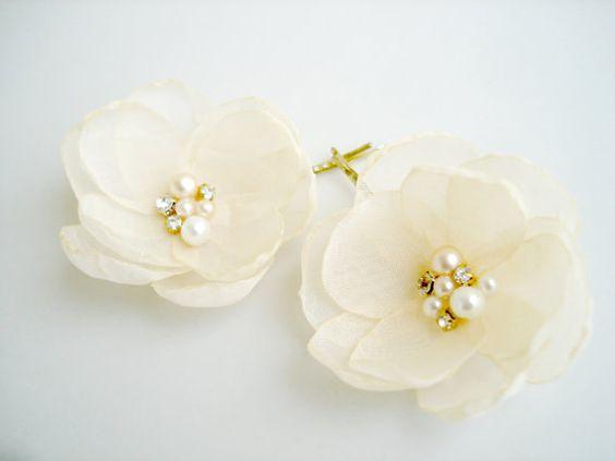 Cream Flower Girl Hair Clips Gold Wedding by GlamFloralBride