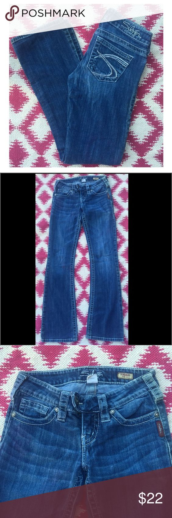 "Silver Tuesday boot cut jeans Good pre owned condition. 29"" inseam. 7"" rise Silver Jeans Jeans Boot Cut"