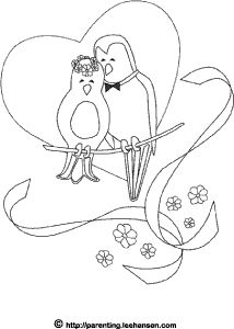 Love birds wedding coloring page Holiday Coloring Images 2