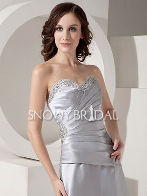 Corset Silver Long Satin Pleated Sweetheart A-Line Bridesmaid Dress - US$96.99 - Style B1040 - Snowy Bridal