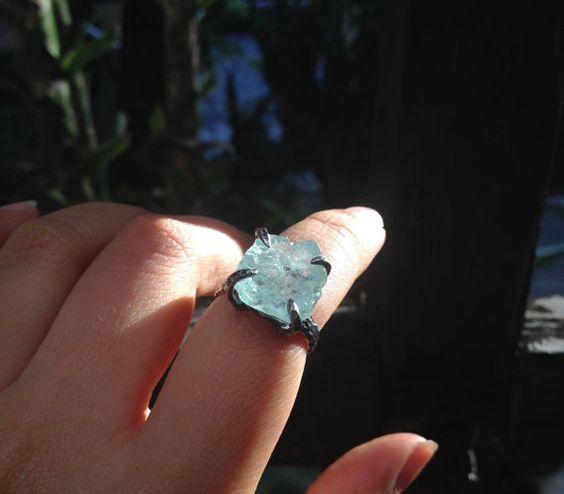 Rough aquamarine sterling silver ring raw by AquaLunarJewel