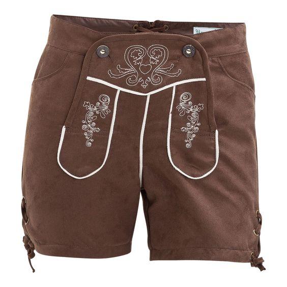 (braun) Damen Trachtenshorts für den Sommer - freche Trachtenshorts für den Sommer von Brandl Tracht, Hotpants-Schnitt mit Klappe und Knöpfen in Hirschhorn-Optik vorne, traditionelle Stickerei auf der Front,