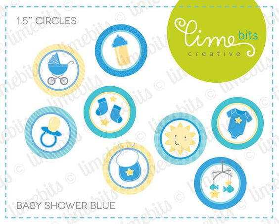 1.5 Baby Shower Circles. Blue. by LimeBitsCreative on Etsy, $2.50