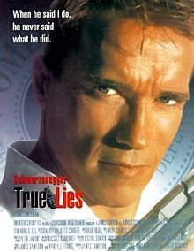 True Lies, 1994; Harry Tasker's bored housewife, Helen (Jamie Lee Curtis), believes her husband (Arnold Schwarzenegger) to be a salesman, blissfully unaware of his espionage activities even after 15 years of marriage. when Helen & Harry are both captured by a gang of Arab terrorists, he is forced to reveal his true profession.