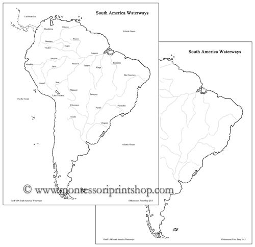 South America Waterways and Blackline Masters Montessori