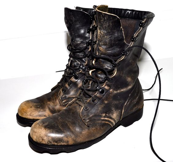 Distressed Leather Faded Black MILITARY Regalia COMBAT BOOTS