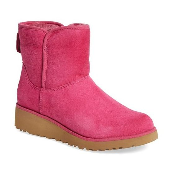 """UGG 'Kristin - Classic Slim' Water Resistant Mini Boot, 1 1/2"""" heel ($107) ❤ liked on Polyvore featuring shoes, boots, ankle booties, ankle boots, furious fuchsia suede, slip on ankle boots, slip on boots, platform ankle boots, water-resistant boots and mid heel ankle boots"""
