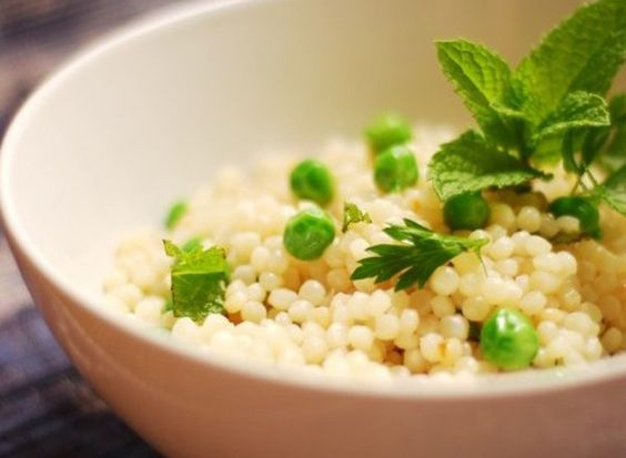 Israeli couscous is sometimes called pearl or maftoul. It is larger than Moroccan couscous and it's pearly round shape reminds me of tapioca although the taste is nothing like it.