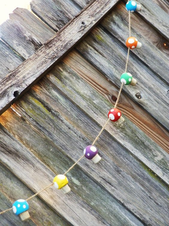 Rainbow Woodland Mushroom Garland by twistedlollyboutique on Etsy, $35.00