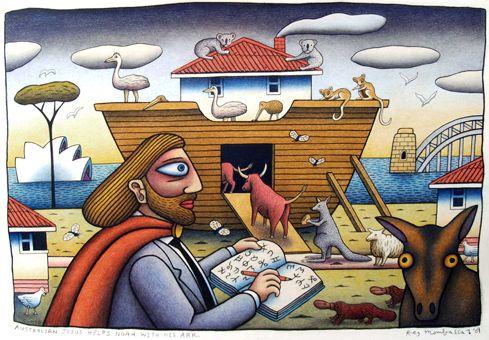 australian jesus helps noah with his ark