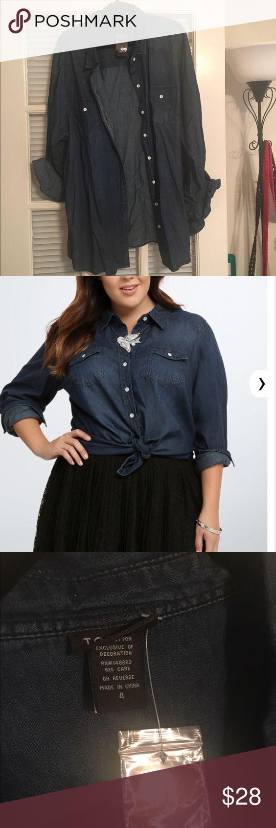 Torrid Size 4 denim shirt Torrid Size 4 denim shirt torrid Tops Button Down Shirts