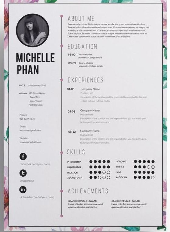 Watercolor Floral Cv Template Cover Letter Reference Template 1 Page Resume Professional Cv Graphic Design Resume Creative Cv Template Cv Template
