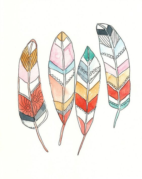 FeathersTribal Design, Original Watercolor and Ink Painting/ Illustration, orange, gold, pink, teal, blue. 8x10, feather design