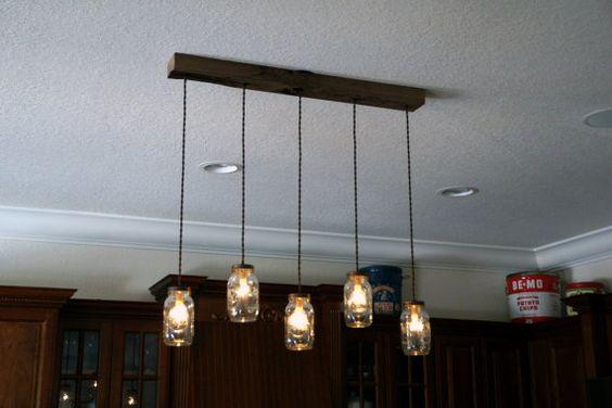 5 lumière bricolage Mason Jar lustre cèdre par IronLumberandLight