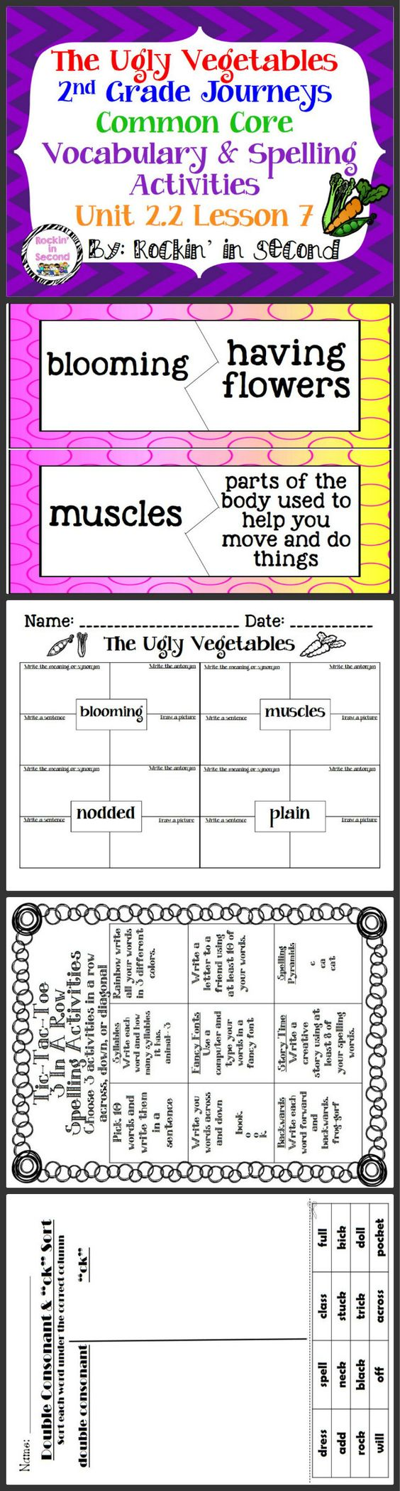 Worksheet How To Spell Vocabulary journeys the ugly vegetables unit 2 lesson 7 spelling vocabulary activities in this bundle you