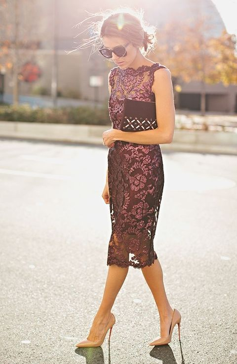 Wedding Guest Dresses For The Fall : I love this look not sure can walk in those heels