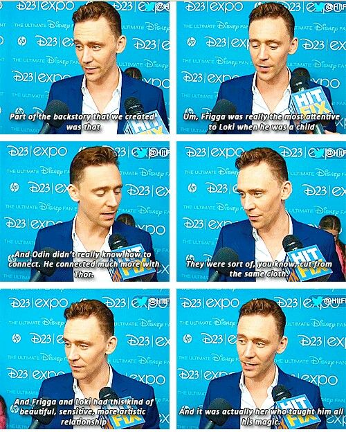 Tom Hiddleston talks about Loki's relationship with Frigga. Loki and Frigga are both adopted in a seance. Frigga is Odin's 2nd wife and not Thor's biological mom.