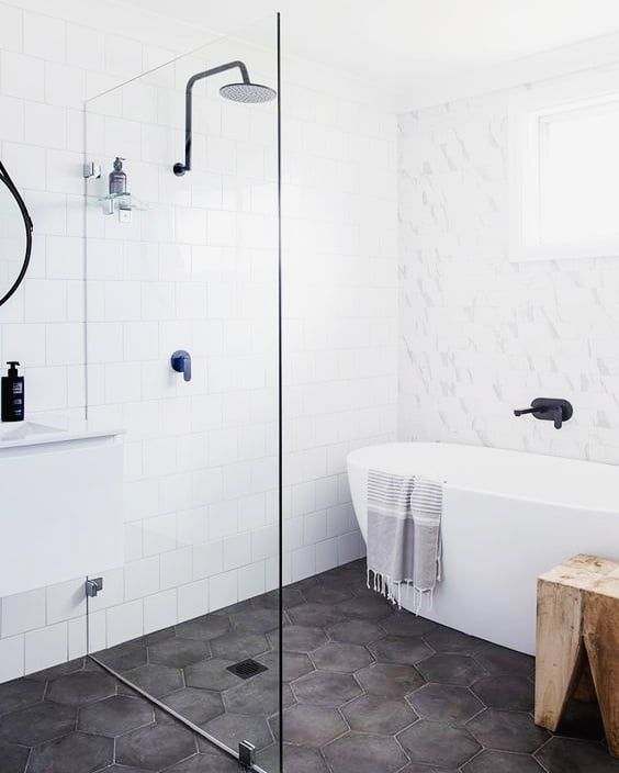Can T Choose Between A Wet Room Shower And A Bath Why Not Go For Both Create A Water Space In Your Bathr Laundry In Bathroom Bathroom Layout Minimal Bathroom