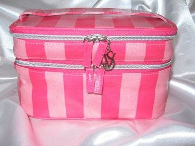 New victoria secret pink stripe train case travel cosmetic for My secret case srl
