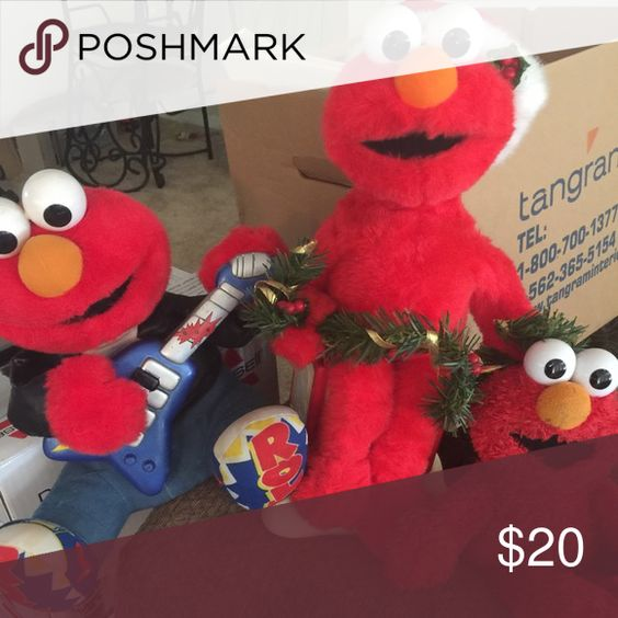Elmo's Three vintage Elmo's . 1. Rock n roll Elmo 3. Christmas Elmo 3. Talking Elmo all for the price of one Other