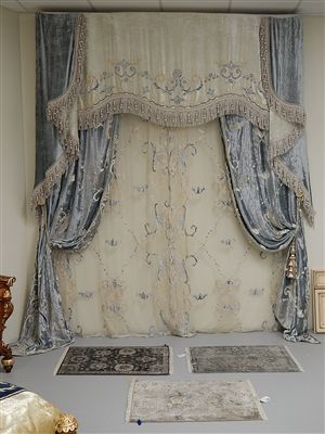 Embroidered custom made draperies from our furniture for Old world window treatments