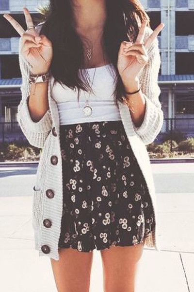 casual Spring style, dark floral skirt, white too and long cardigan: