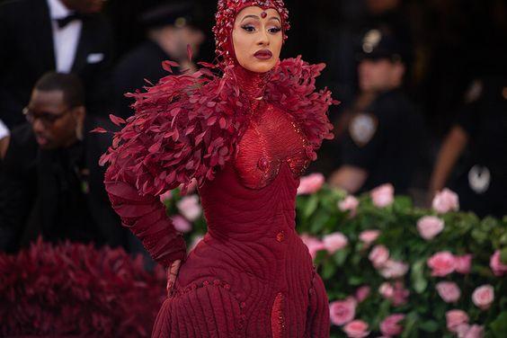 Cardi B in custom Thom Browne attire at the 2019 Met Gala