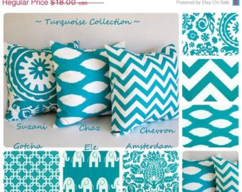 "SPRING SALE Turquoise throw pillow cover 20"" x 20"" you choose fabric turquoise cushion cover chevron pillows"
