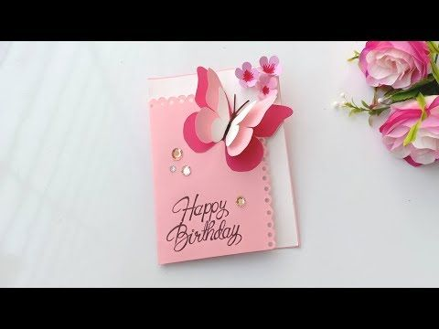 Butterfly Pop Up Birthday Card Handmade Easy Card Tutorial Youtube Butterfly Birthday Cards Happy Birthday Cards Handmade Birthday Card Craft