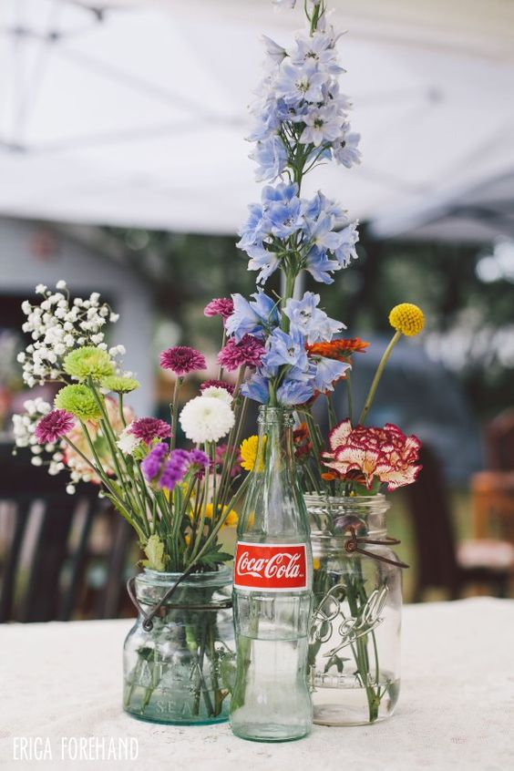 Diy wedding centerpieces coke bottle mason jar for Glass bottle centerpieces weddings