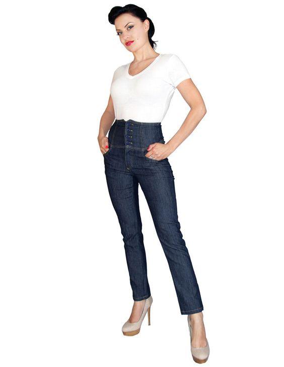 details about rock steady high waist jeans blue rockabilly. Black Bedroom Furniture Sets. Home Design Ideas