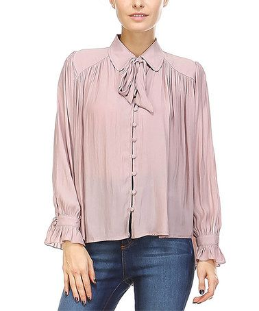 Loving this Dusty Pink Semisheer Self-Tie Pleated Top on #zulily! #zulilyfinds