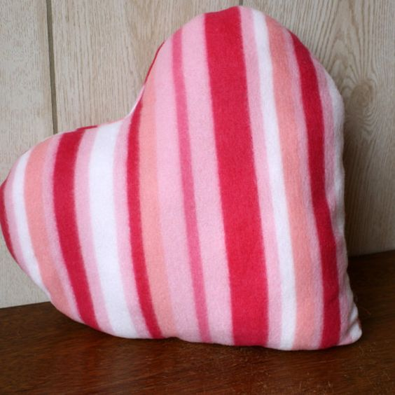 Plush fleece red ruffles heart decorative accent pillow for Valentine's Day